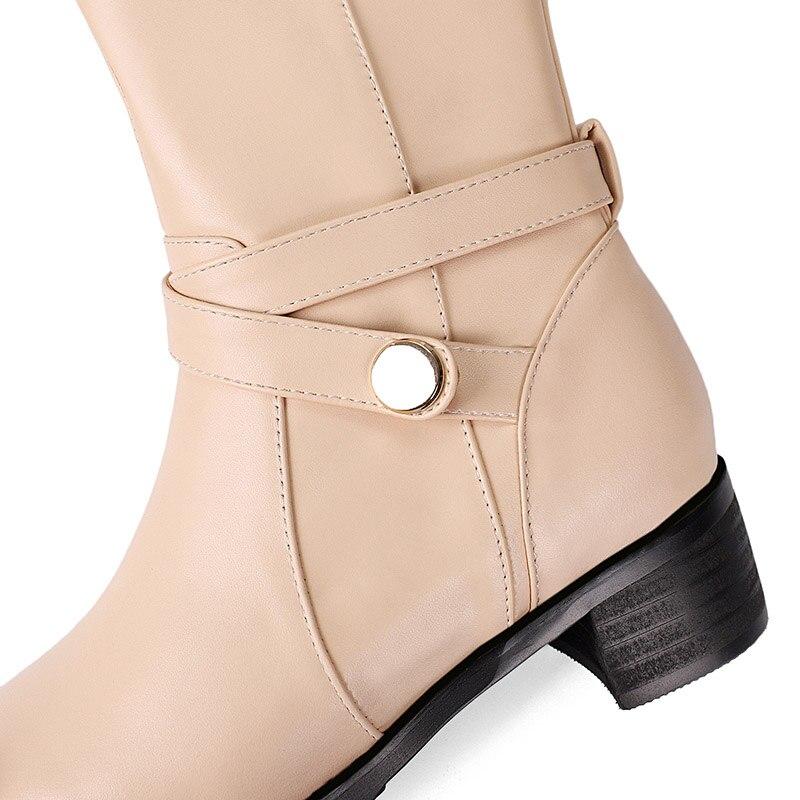 Rond Femmes beige Avec Noir De Naturel En Black Moyen Chaussures Tirette Chinois Cuir Hautes Bottes Style Beige Épais Rue Bout Genou D'équitation qZyUtA