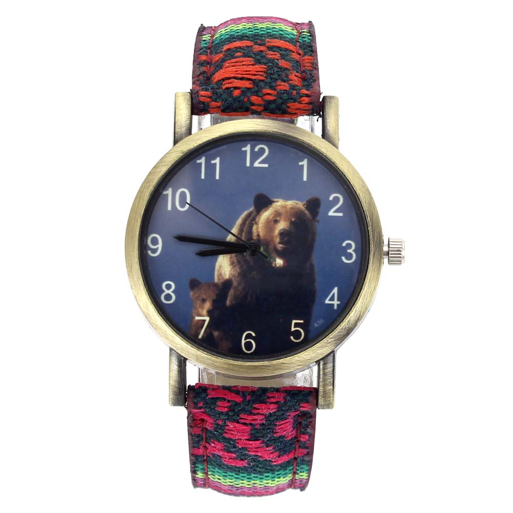 Big Brown Bears Grizzly Mama Bear Arctos Animal Fashion Men Women Accessories Stripes Denim Canvas Band Sport Quartz Watch