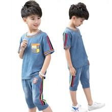 2019 new summer baby boy clothes set kids denim short sleeve shorts+jean pants two-piece body suit children's jean sets for boys