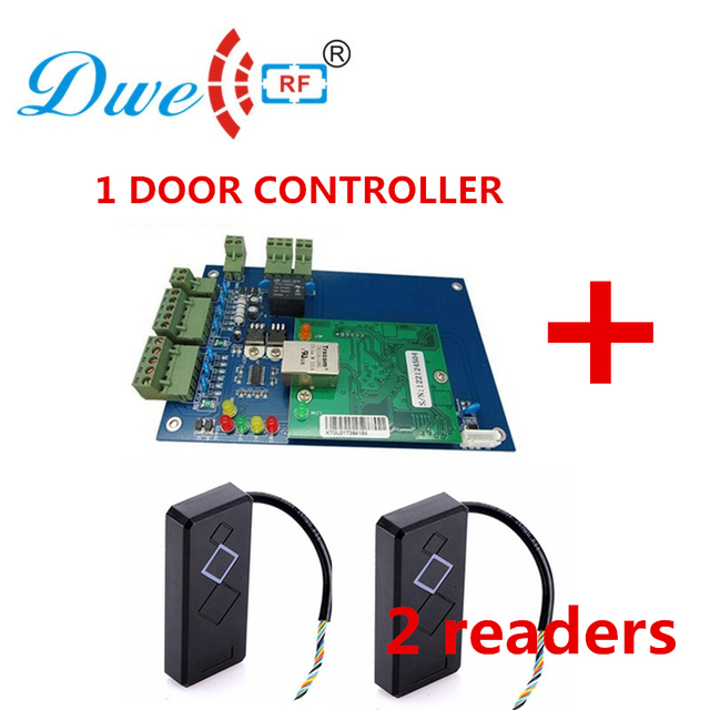 US $52 48 |DWE CC RF tcp ip one door wiegand access controller door access  control panel with 2pcs 125khz wiegand reader free -in Access Control Kits
