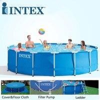 INTEX 457*122 cm Round Frame Family Swimming Pool Set Pipe Rack Pond Large above ground Swimming Pool Piscina Filter Pump B32001