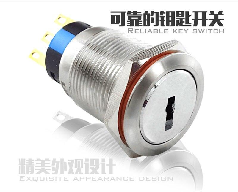 Interruptores e Relés 1no1nc Características : Key Lock Button Switch