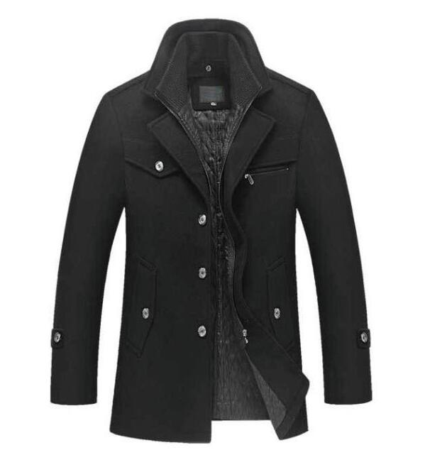 New Winter Wool Coat Slim Fit Jackets Mens Casual Warm Outerwear Jacket and coat Man Pea Coat Plus Size M-4XL