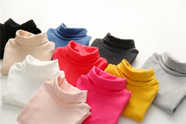 2018 Spring Autumn 2-10T Years Children'S Candy Color Sweet Long Sleeve High Neck Unisex Kids Girl Boy Basic Turtleneck T-Shirt (26)