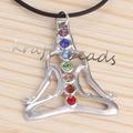 UMY Silver Plated ReiKi Rhinestone Buddha Yoga Meditation Healing Chakra Pendant Buddha Charms Jewelry