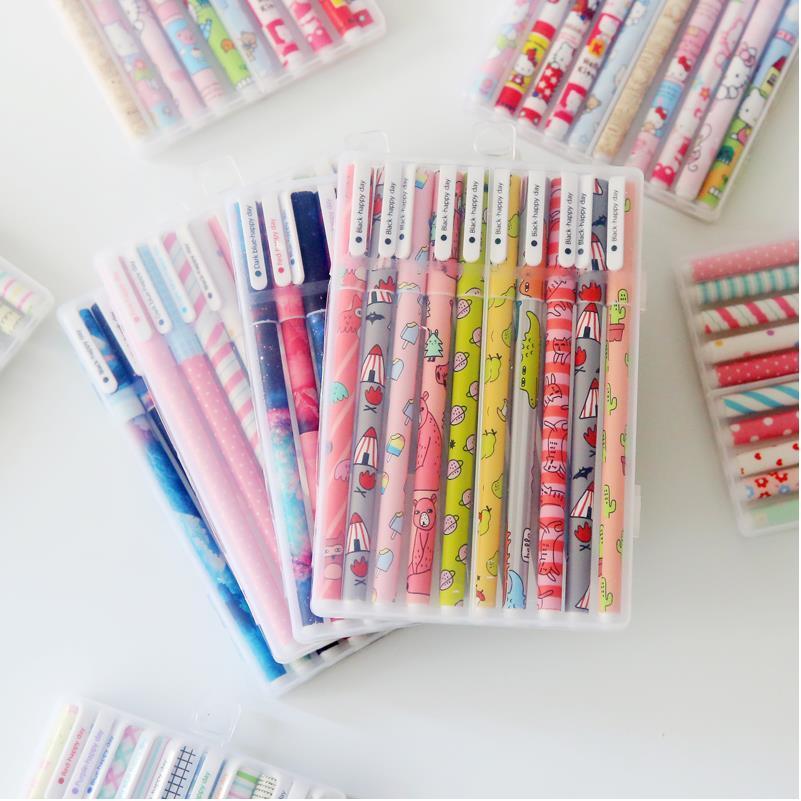 10pcs 6pcs kawaii flower colorful Chancery gel pen papelaria office school supplies stationary canetas coloridas color pen 04083 цены онлайн