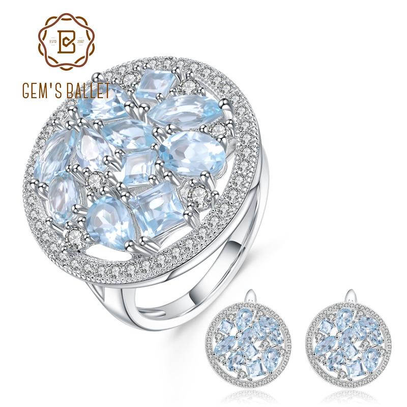 GEM S BALLET 12 06ct Oval Natural Sky Blue Topaz Gemstone Flower Jewelry Set 925 Sterling