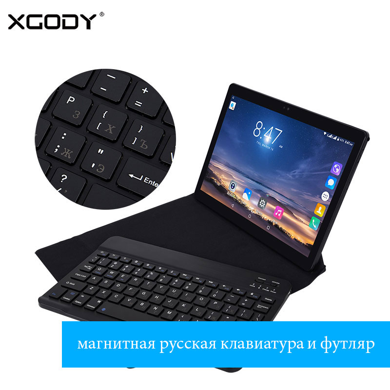 XGODY T1005 10 Inch Tablets with Magnatic Russian Keyboard and Case 3G Phone Call Tablet Android 6.0 Quad Core 1+16 OTG 4500mAh new ru for lenovo u330p u330 russian laptop keyboard with case palmrest touchpad black
