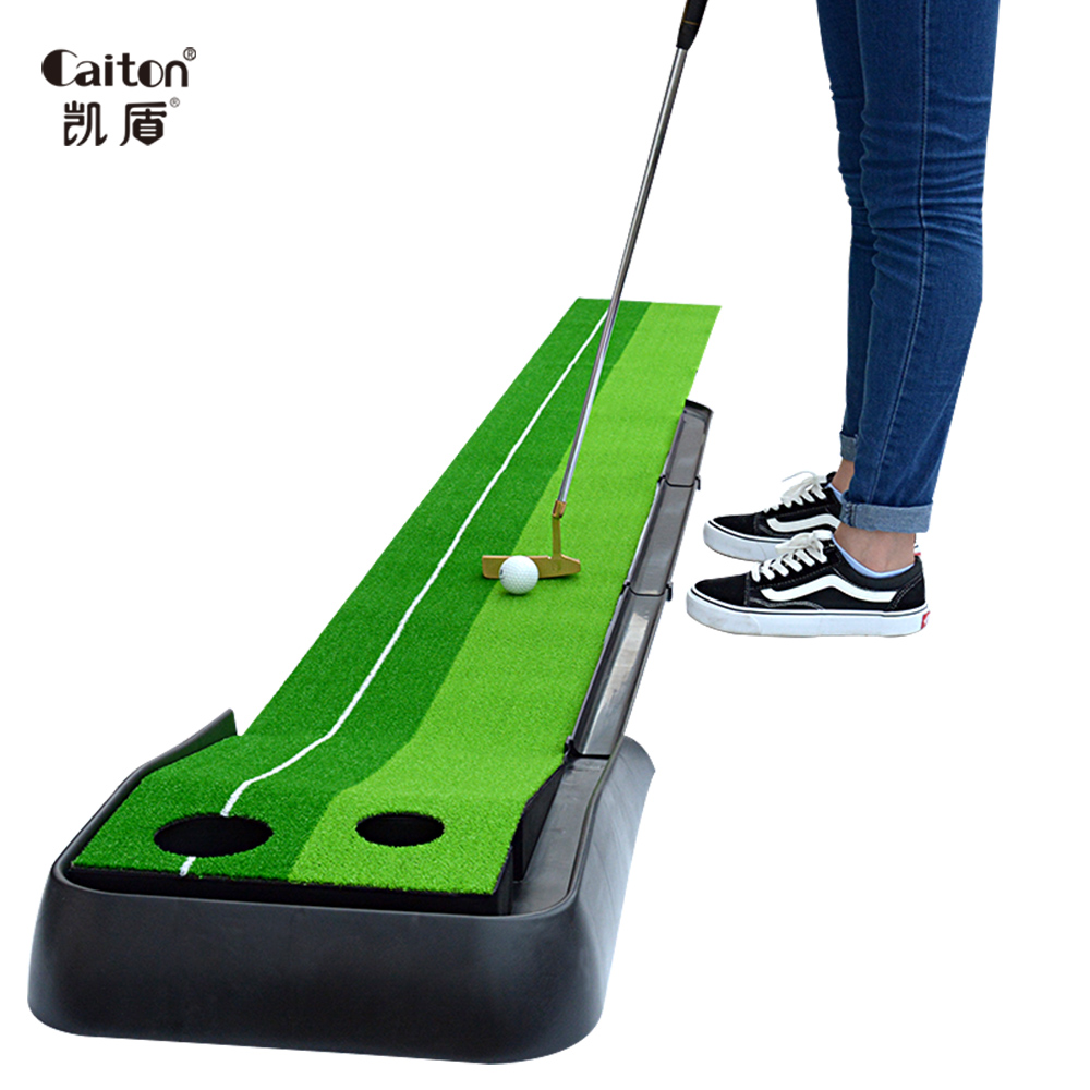 Caiton Golf Putting Green Simulation Shun lawn Track automatically return to the ball golf putting trainer caiton portable golf putter set kit with ball hole cup for travel indoor golf putting practice top grade redwood golf gift