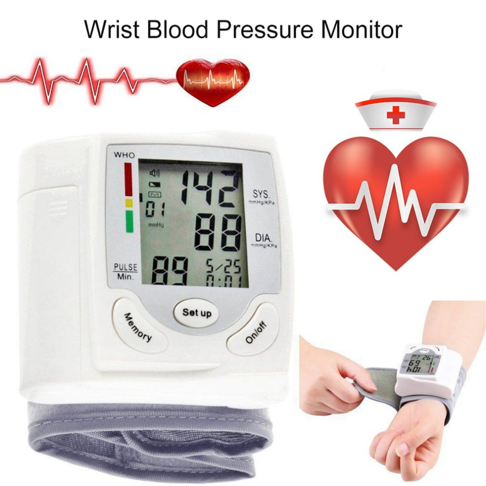 LCD Display Sphygmomanometers pulsometer Wrist Blood Pressure Monitor Heart Beat Rate As picture send free gift 1