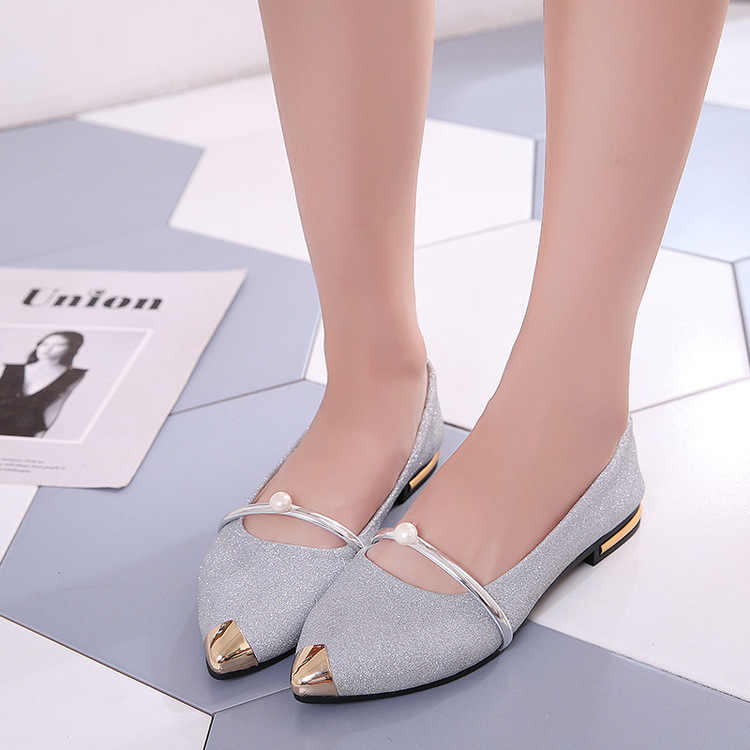 Taomengsi's New Pointed Single Shoe Women's Shallow Mouth Joker Set Feet Pearl Comfortable Lazy Shoe Career work shoes size35-40