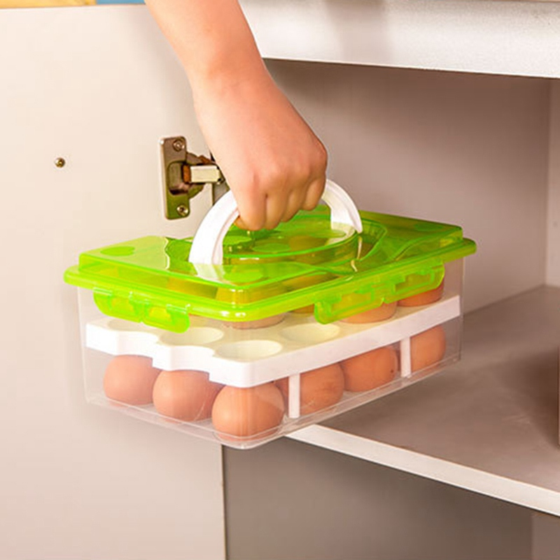 24 Grid Egg Box Food Container Organizer Convenient Storage Boxes Double Layer Durable Multifunctional Crisper Kitchen
