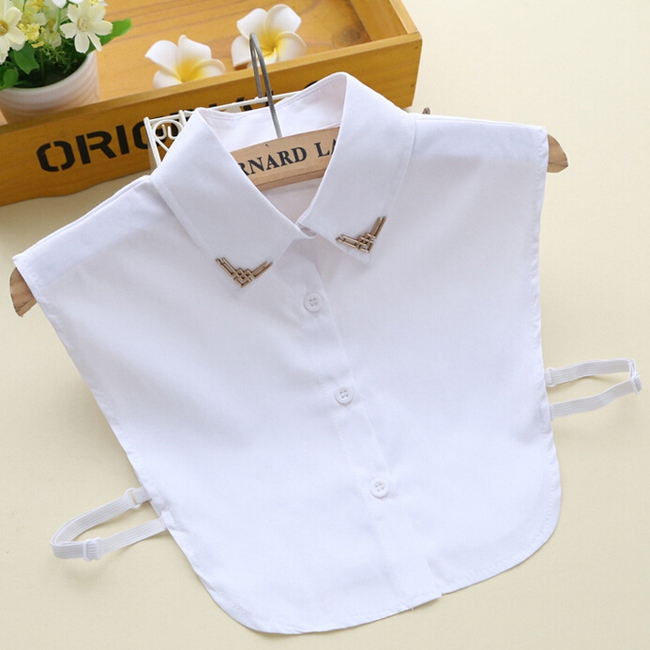 High Quality Shirt Collar White Metal Decoration Fales Collar Cotton Blouse Detachable Collar Apparel Accessaries