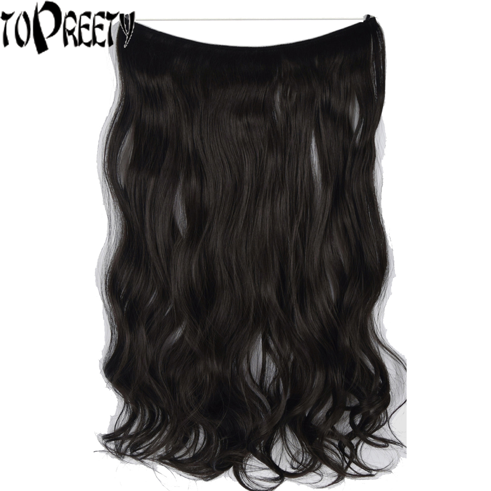 TOPREETY Heat Resistant B5 Synthetic Hair Fiber 20 50cm 80g Wavy Elasticity Wire Halo Hair Extensions