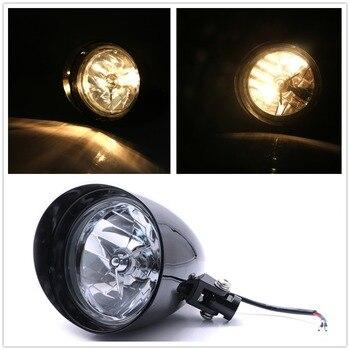 Headlamp 12V Motorcycle Visor Bullet Headlight Light Black For Harley Bobber Chopper Dyna New Head Light