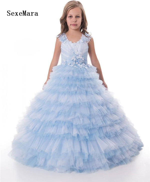 Sky Blue Flower Girl Dresses Lace Ball Gown Little Lace Puffy Tulle Kids Birthday Gowns Pageant Gown Princess Christmas Dress 2018 sky blue vintage communion dress with lace appliques long tail tulle ball gown for girl party pageant gowns