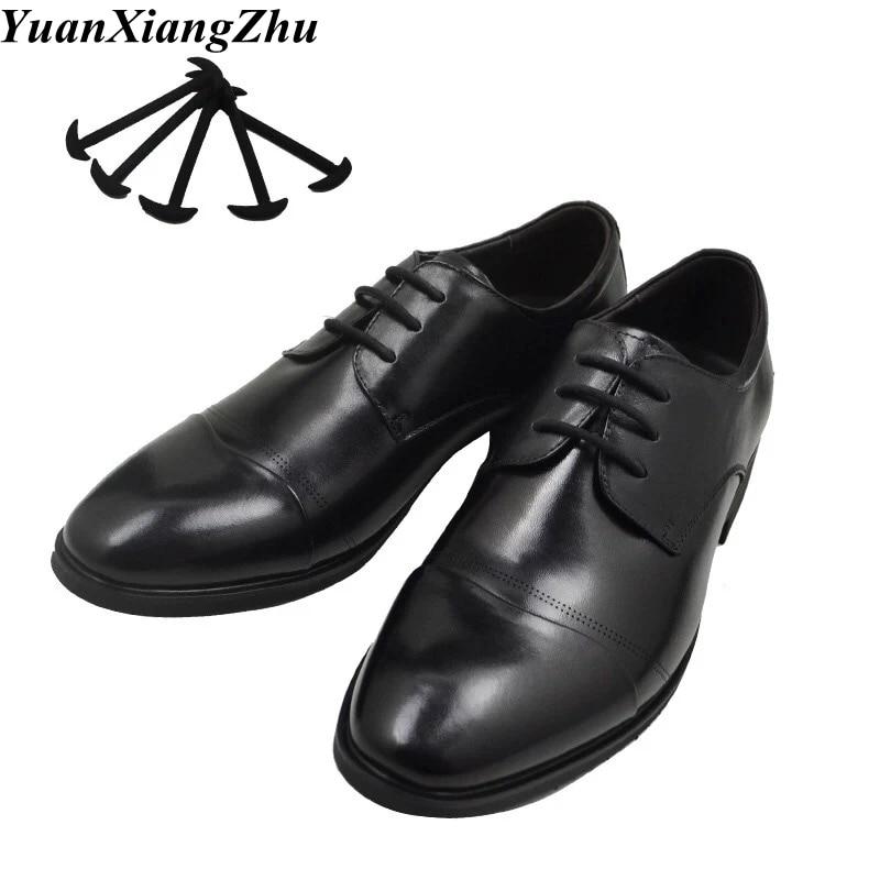 12pcs/set Leather Silicone Shoelaces Sneakers Shoes Lace Lazy No Tie Shoelaces Elastic Silicone ShoeLace Suitable Unisex Laces