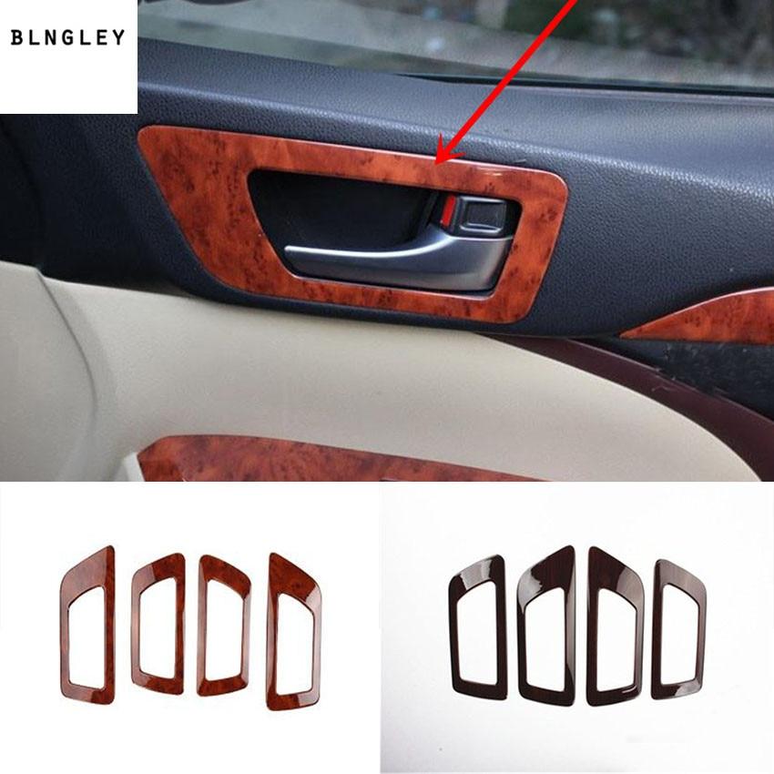 4 pcs/lot ABS grain en bois porte intérieure secouer poignée décoration couverture pour 2015-2017 Toyota Highlander voiture accessoires