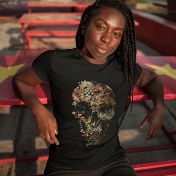 Skull T-Shirt Smyrna Skull T Shirt Casual Print Women tshirt O Neck Cotton Funny Red XXL Short Sleeve Ladies Tee Shirt