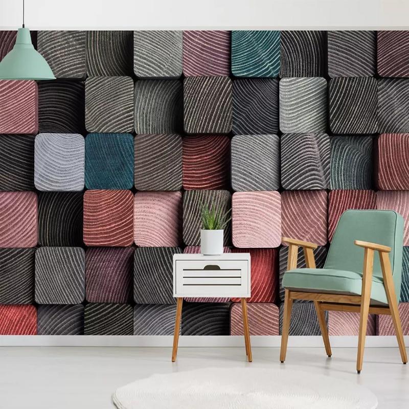 Custom Wall Cloth 3D Nordic Abstract Cube Wood Grain Photo Mural Wallpaper Living Room TV Sofa Background Mural Papel De Parede