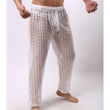 Man Transparent Sleep Pants/Male Funny Mesh Fishnet See Through Lounge Trousers/Gay Polyester pajama Bottoms