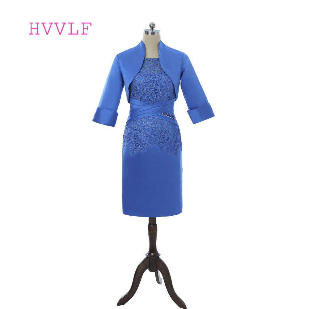 Royal Blue 2019 Mother Of The Bride Dresses Sheath With Jacket Lace Beaded Plus Size Formal Groom Mother Dress For Wedding