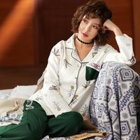 BZEL Women's Pajamas Sets Long Sleeve Sleepwear Turn down Collar Sleeo Lounge Lingerie Underwear Pyjamas Women Pijama Mujer 2PCS