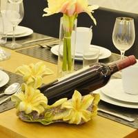 Practical Creative Wine Rack Supplies Lilies Flower Resin Design Wine Bottle Holder Wine Shelf Home Decorations for Home Kitchen