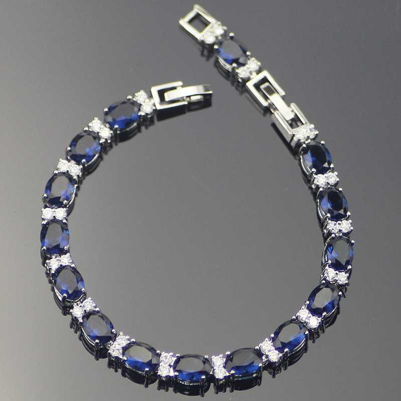Classic Blue Cubic Zirconia Sterling Silver Bracelets For Women 7+1Inch  Free Jewelry Box
