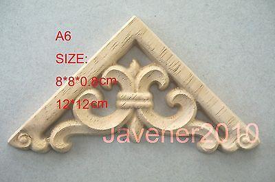 A6-8x8x0.8cm Wood Carved Corner Onlay Applique Unpainted Frame Door Decal Working Carpenter Flower