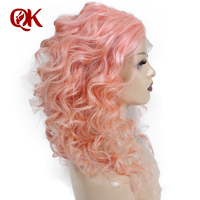 QueenKing hair Full Lace Wig Baby Pink 100% Brazilian Human Wavy Preplucked Hairline Remy Hair Wigs