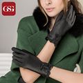 2016 GSG Brand Designer Black Women Genuine Leather Gloves For Ladies With Lace and Bow Lady Gloves Warm Lined Winter Guante