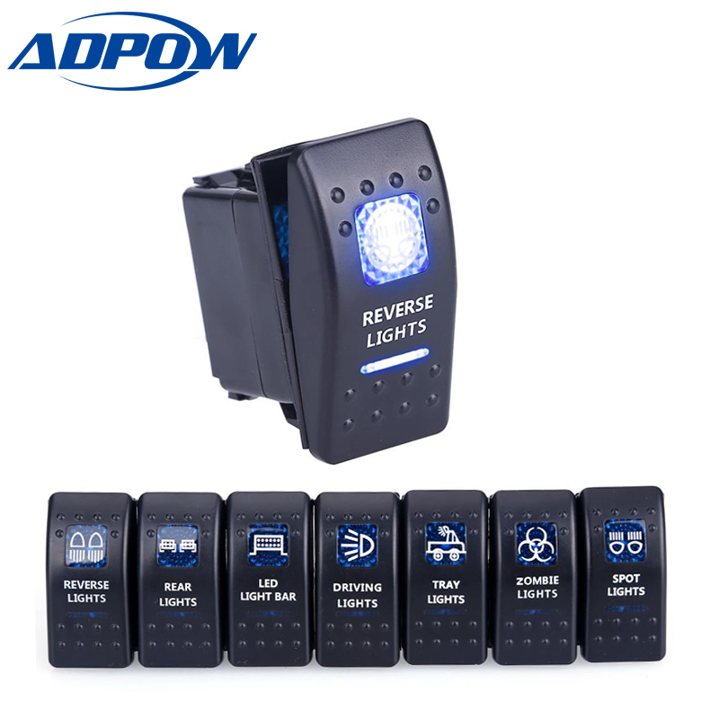 ADPOW 5pin Car Switch Boat Truck Light Toggle switch Waterproof 24V Bar Style Blue Toggle Rocker Reverse Rear Light Switch 12V(China)