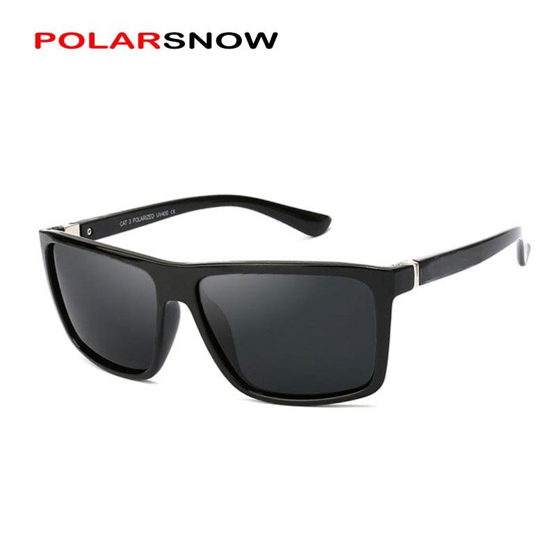 POLARSNOW 2019 Neue Sonnenbrille Männer Polarisierte Fahren Spiegel Beschichtung Punkte Schwarz Rahmen Brillen Männlichen UV400 Sonnenbrille P8965