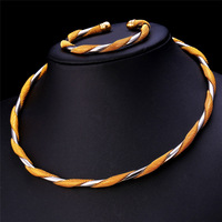 Two Tone Jewelry Torques Necklace Bracelet For Men Women Wholesale Jewelry 18K Real Gold Plated Round