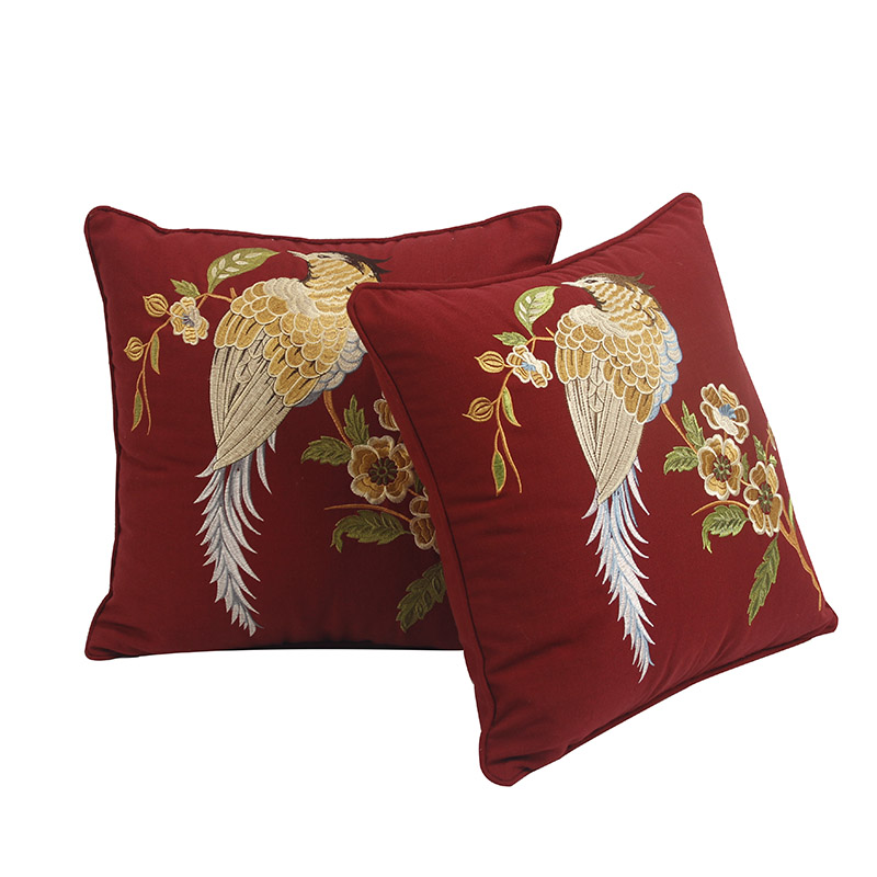 Embroidered Sofa Throw Cushions Cover Red Cotton Pillowcase Fringe Bird Throw Pillows Chinese Home Decor Cusion Pillow New Couch