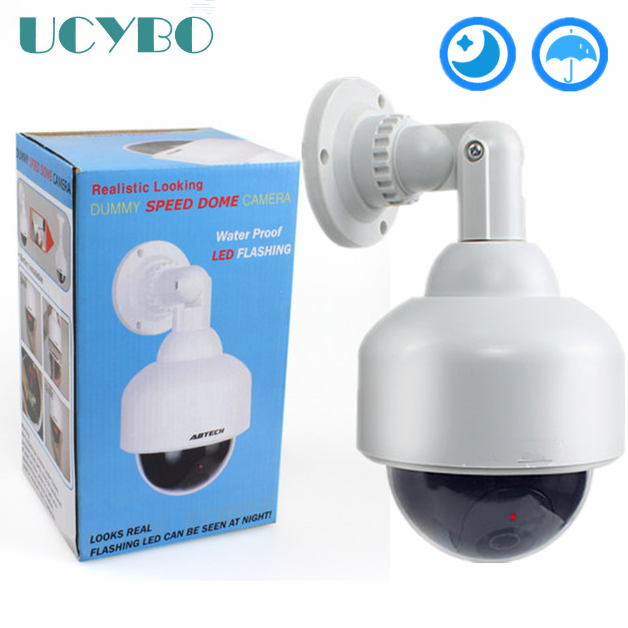 Dummy Camera Cctv Fake Video Surveillance Camera System Outdoor Speed Dome False Home Security Dummy Cameras W/ Leds