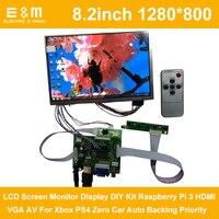 8.2 polegada 1280*800 ips display lcd monitor de tela kit diy raspberry pi 3 hdmi vga av para xbox ps4 zero carro backup prioridade