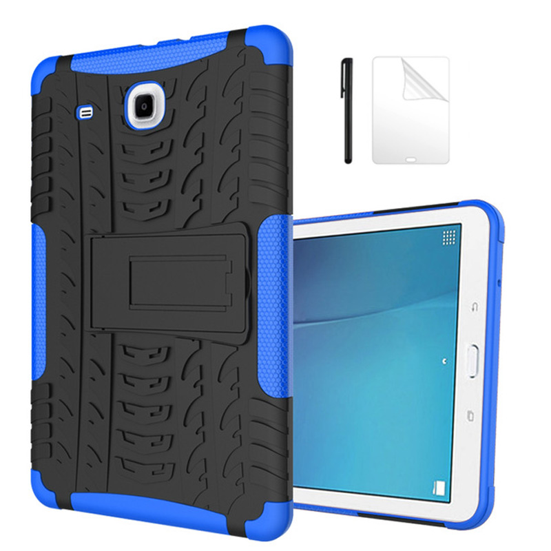 Amor Heavy Duty Silicone Hard PC Case For Samsung Galaxy Tab E 9.6 T560 T561 Tablet Cover For Samsung TabE T560 Case+Film+Pen