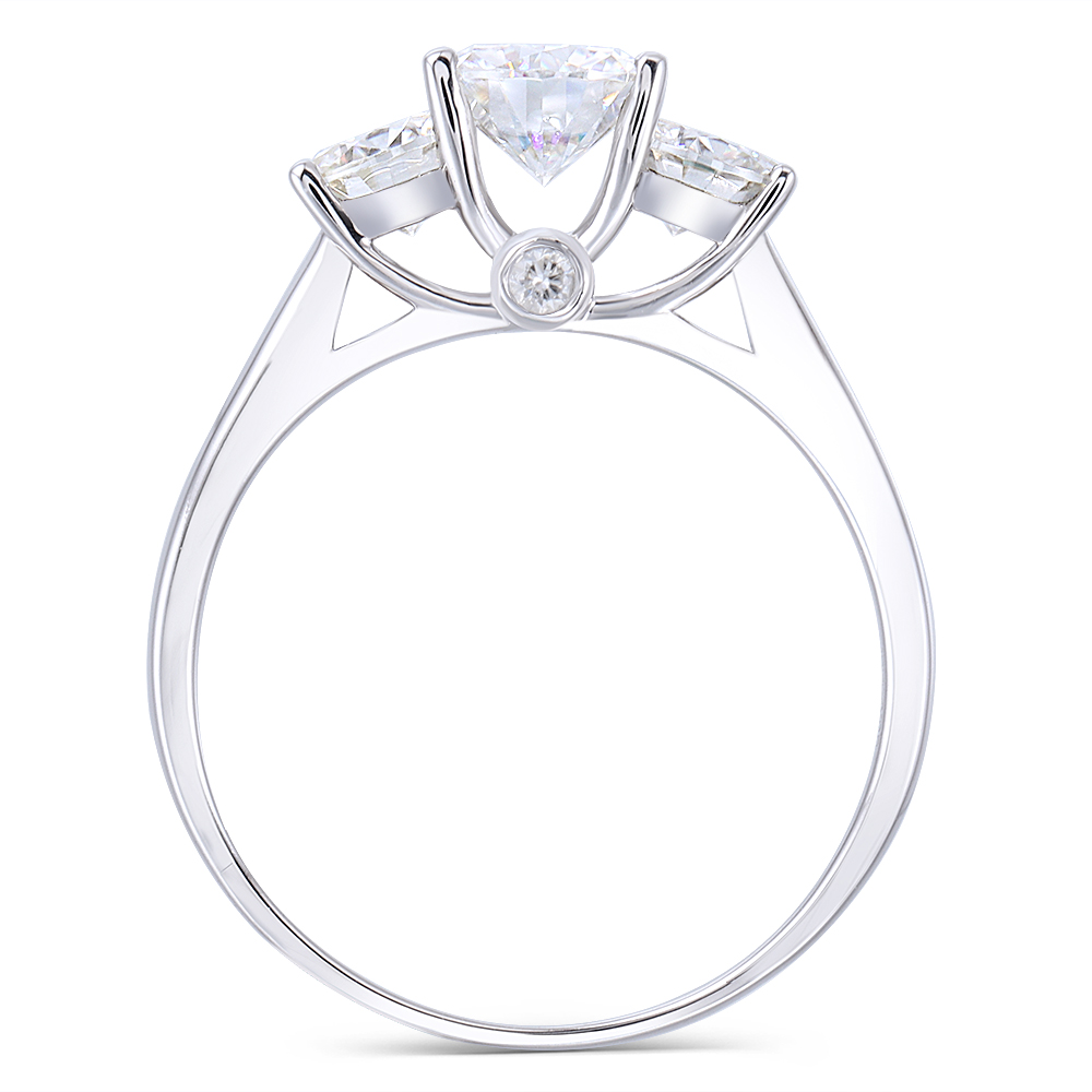 DovEggs Classic Simplicity Solid 14K White Gold Center 6.5mm F Color Lab Grown Moissanite Three Stone Party Ring for Women(2)