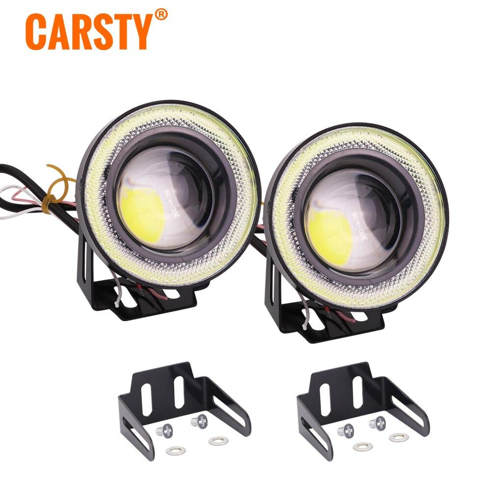 Carsty 2pcs Universal Waterproof LED Fog Light With Lens Halo Angel Eyes Rings COB RGB White