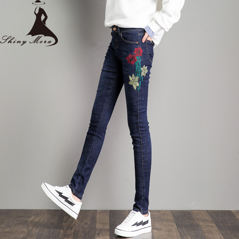 SHINYMORA Women Pencil Jeans Pants 2017 Autumn Fashion Flower Embroidery Skinny Pants Mid Waist Elastic Slim Denim Trousers 313 2017 new jeans women spring pants high waist thin slim elastic waist pencil pants fashion denim trousers 3 color plus size