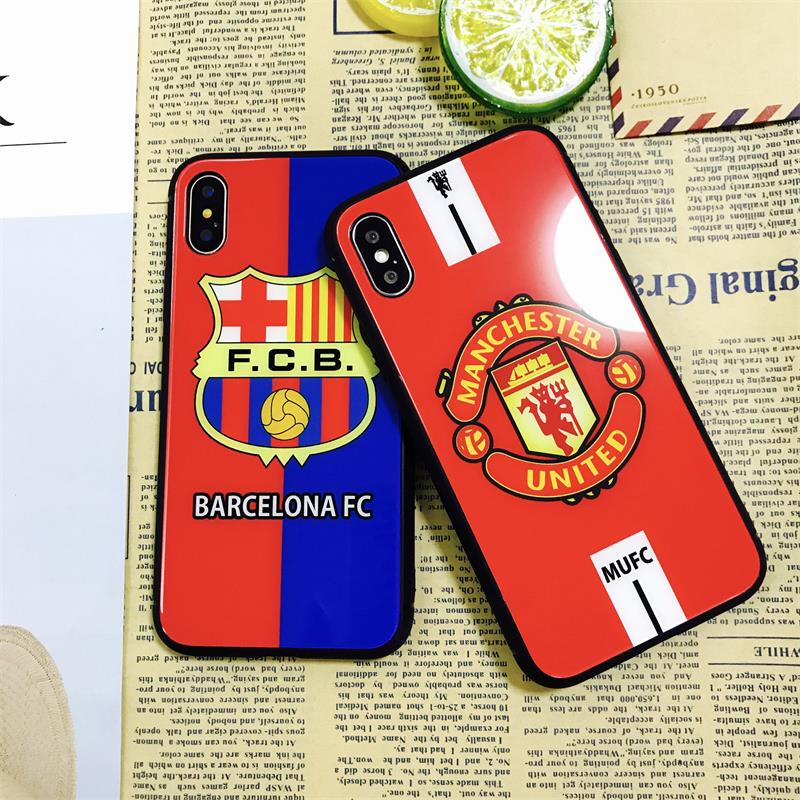 297fbc5757e Phone case for Apple iPhone 6 6S Plus 7 7Plus 8 8plus Fc Barcelona Fans  Full cover Silicon glass Phone Case Football Team Sports-in Fitted Cases  from ...