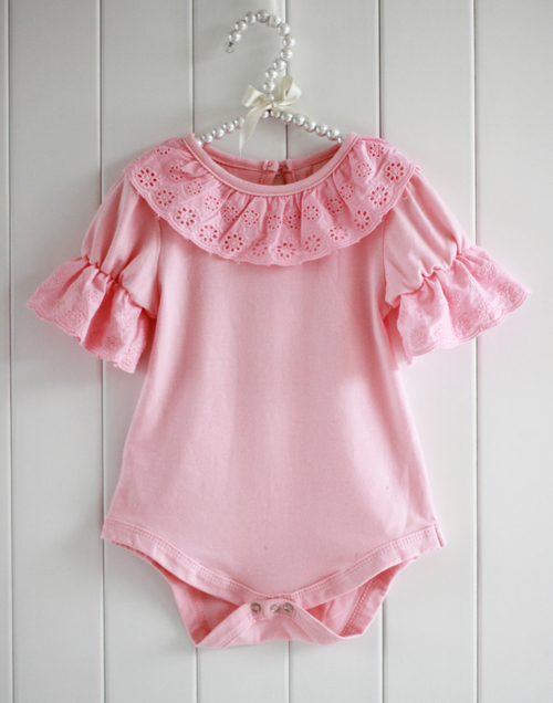 Summer Breathable Cute Lacework Kid Baby Jumpsuit Bubble Sleeve Ruffled Lace Collar Bodysuit Shirt