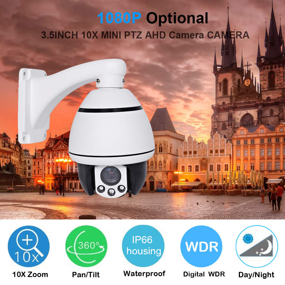 1080P HD AHD CCTV Mini PTZ Speed Dome Camera Outdoor & Indoor Pan/Tilt 4X Zoom Night Vision 1080P AHD PTZ Security Camera RS485