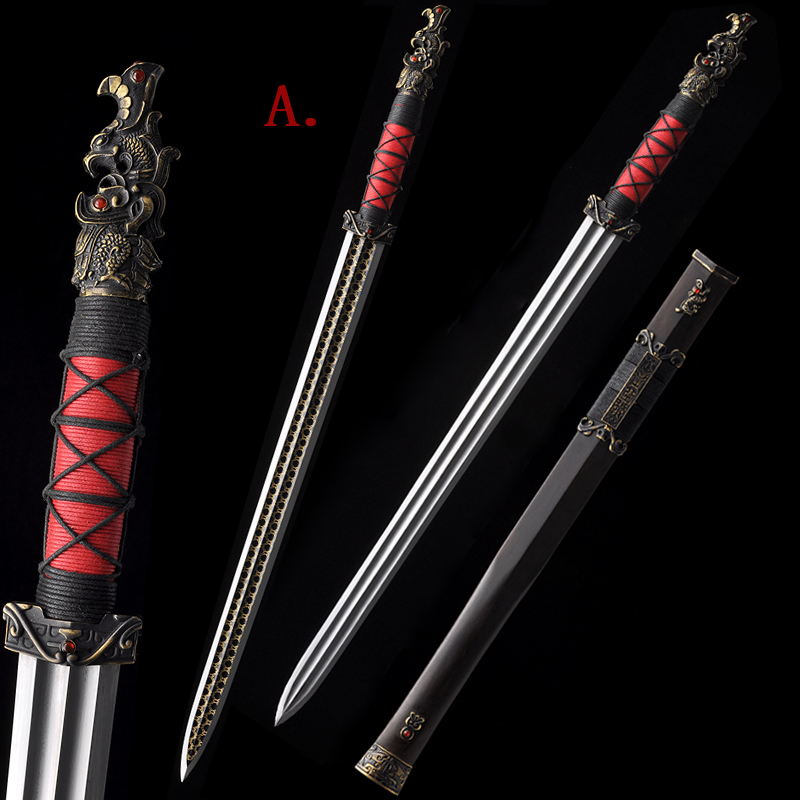 Traditional Chinese Sword Replica Movie Red Cliff ZhouYu Jian Handmade Folded Steel Christmas Decorative Matial Art