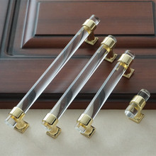 3'' 3.75 5 6.3 Acrylic Drawer Knobs Pull Handles Dresser Pulls Gold Glass Look Kitchen Cabinet Handles Door Pulls Knob Modern 3 75 5 6 3 crystal black drawer pull handle knob kitchen cabinet door handles knobs glass rhinestone dresser pulls decor