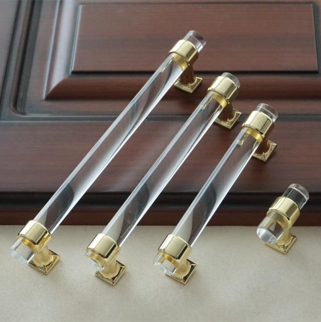 3 75 5 6 3 acrylic drawer knobs pull handles dresser pulls gold