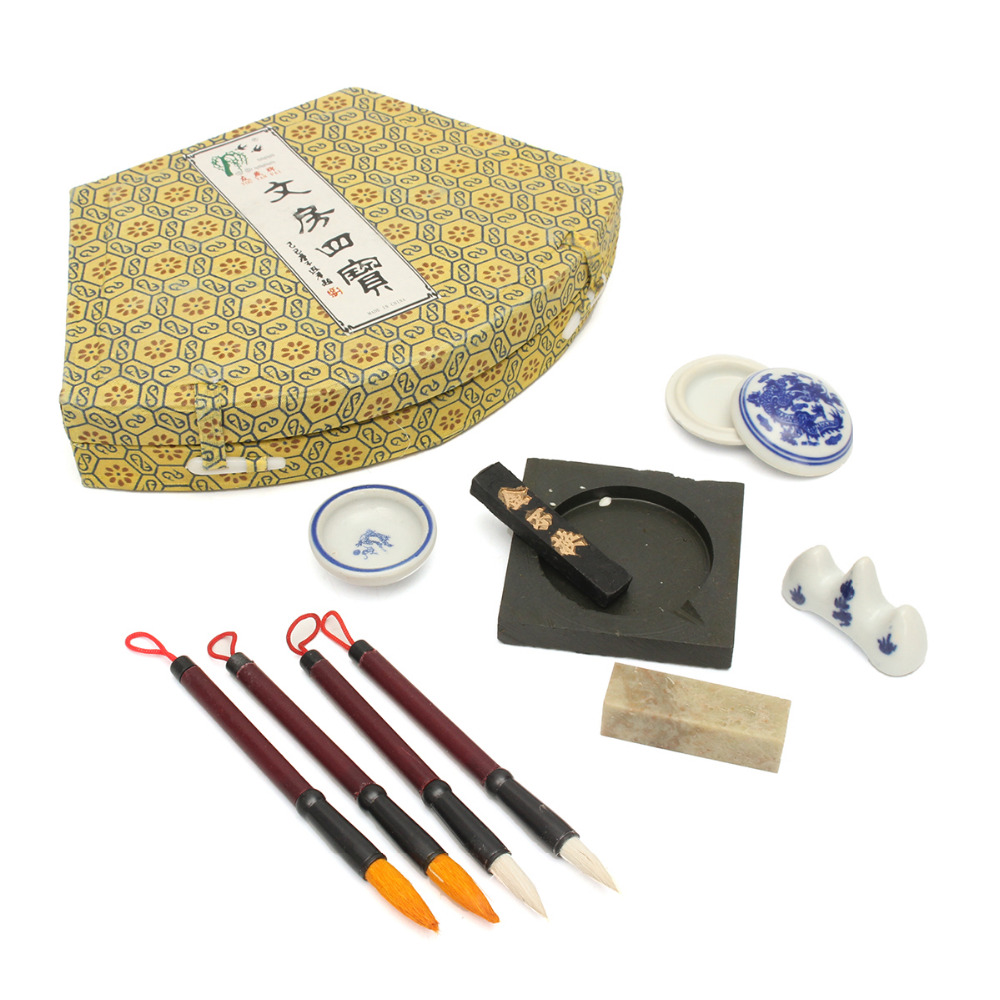 Newest Chinese Calligraphy Set Writing Pen Brushes Ink Inkstone Stamp Set With Box Painting Brushes Set For Artist Student Gifts 5000 chinese characters word pen copybook hard pen calligraphy copybook learn writing supplies for china lovers 2017