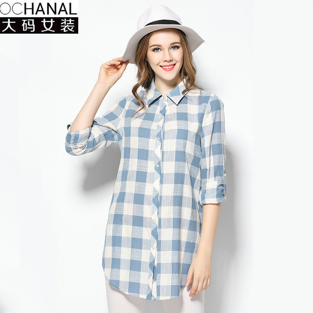 2017 Europe style plaid shirts women large size new spring loose loose cotton gingham lattice three quaters sleeve shirts 5XL